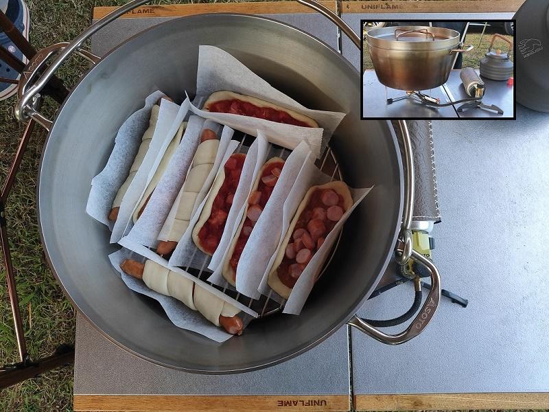 ナンドッグ&総菜ナンをダッチオーブンで焼く
