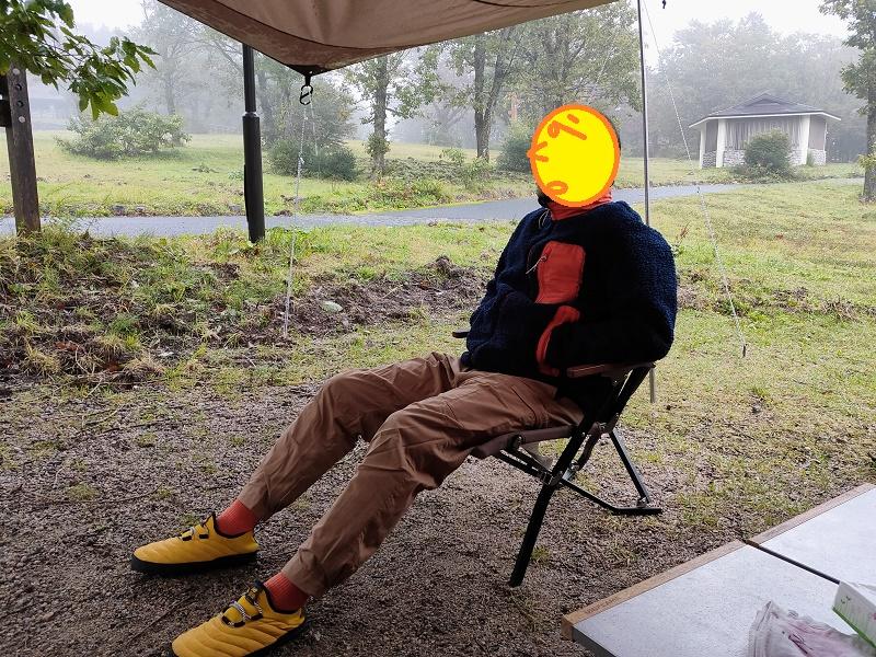 台風の影響で雨の鏡ヶ成キャンプ