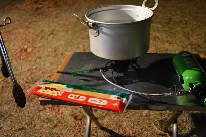 寒いのでNOVAでスパゲティを茹でる