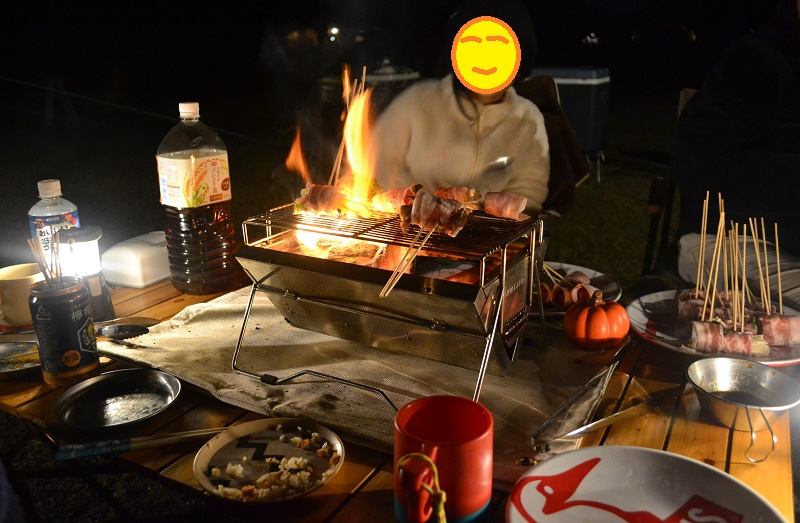 野菜巻きを卓上グリルで焼く